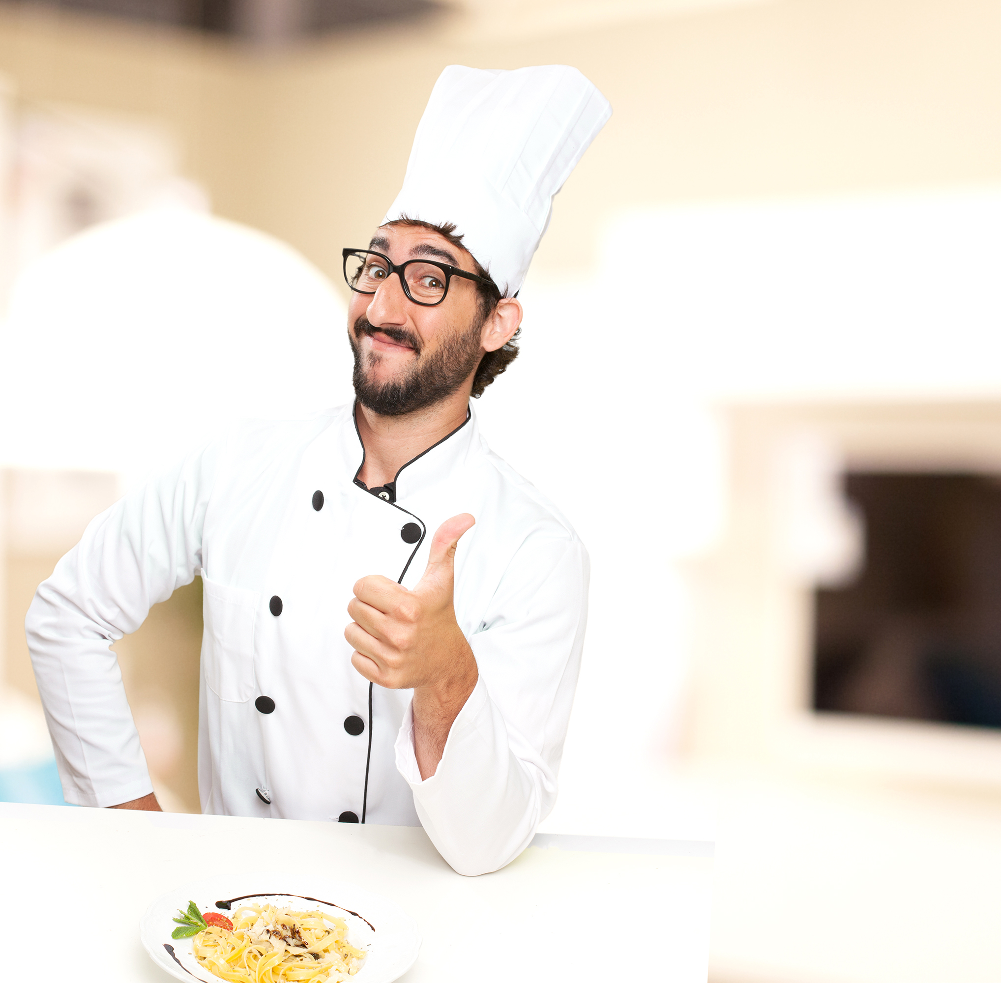 cook man okay sign with pasta